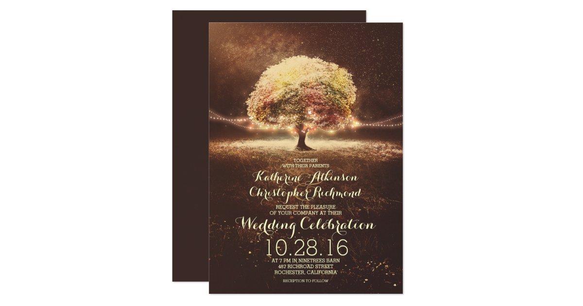 romantic string lights tree fall wedding invites Zazzle