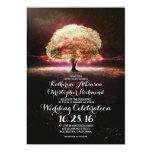 romantic string lights tree pink wedding invites