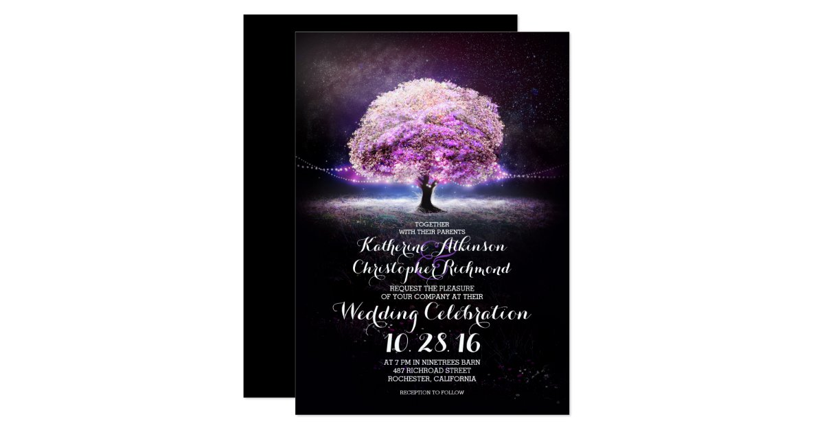 romantic string lights tree purple wedding invites Zazzle
