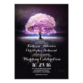 romantic string lights tree purple wedding invites personalized invitations