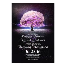 romantic string lights tree purple wedding invites personalized invitations