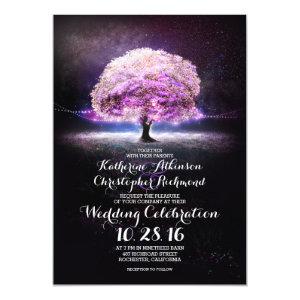 romantic string lights tree purple wedding invites 5