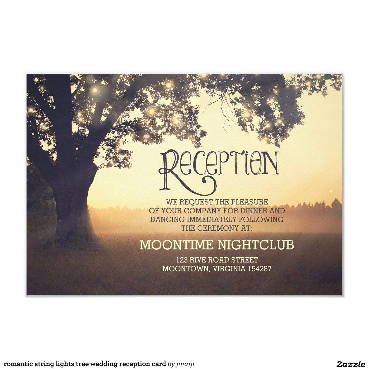 String Lights For Reception : romantic string lights tree wedding reception card Zazzle