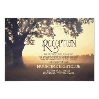 romantic string lights tree wedding reception card