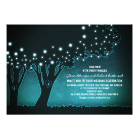 Romantic string lights trees rustic wedding invite