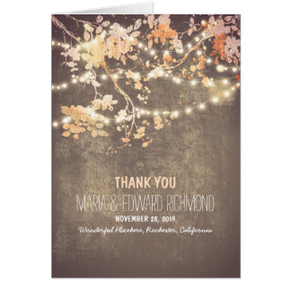 Romantic string lights wedding thank you stationery note card