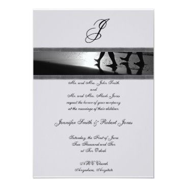 Beach Themed Romantic Stroll Monogram Grey Wedding Invitation