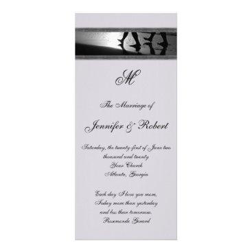 Beach Themed Romantic Stroll Monogram Grey Wedding Program