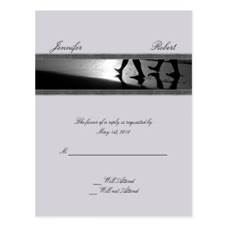 Romantic Stroll Monogram in Silver Grey and Black Post Card