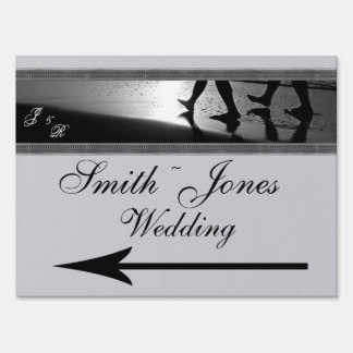 Romantic Stroll Monogram in Silver Grey and Black Sign