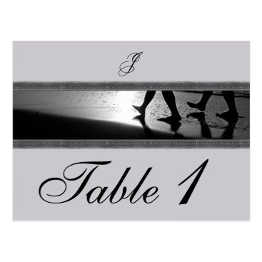 Beach Themed Romantic Stroll Monogram in Silver Table Number Postcard