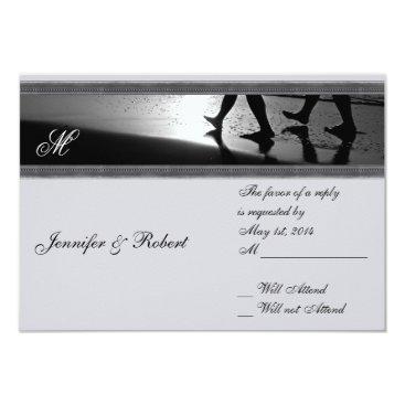 Beach Themed Romantic Stroll Monogram Silver Grey Response Card