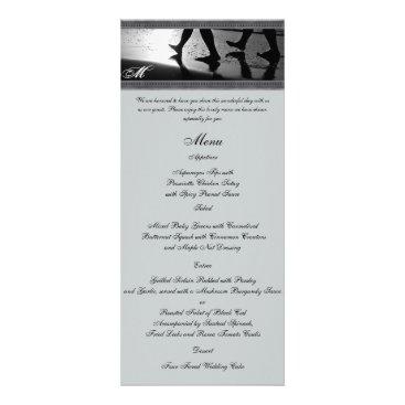 Beach Themed Romantic Stroll Monogram Silver Grey Wedding Menu
