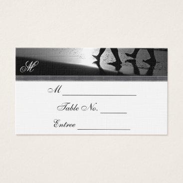Beach Themed Romantic Stroll Monogram Silver Wedding Place Card
