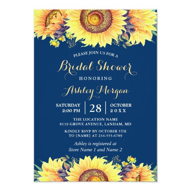 Romantic Sunflowers Rustic Navy Blue Bridal Shower Card