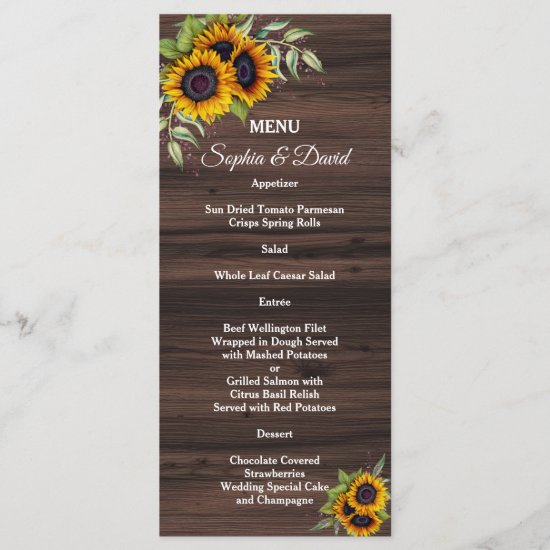Romantic Sunflowers Wood Wedding Menu