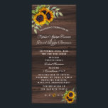 """Romantic Sunflowers Wood Wedding Program<br><div class=""""desc"""">Rustic country wedding card design featuring watercolour sunflowers bouquets,  a semi-transparent shape with a textured frame,  arrows with hearts and sunflowers as divider,  all on an old barn background. Use Customize tool to add your info. Matching items can be found in my Rustic Sunflowers Old Barn Collection.</div>"""