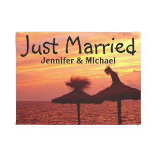 Romantic Sunset at the Sea - Just Married Doormat