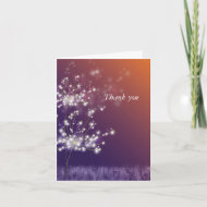 Romantic Sunset Dandelions Wedding Thank You Greeting Cards