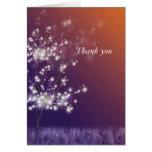 Romantic Sunset Dandelions Wedding Thank You Greeting Cards