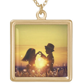 Romantic sunset gold plated necklace