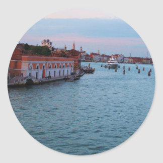 Romantic Sunset in Venice -  Italy Photograph Classic Round Sticker