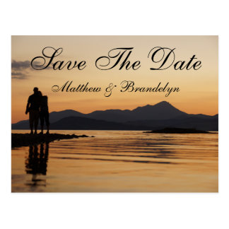 Romantic Sunset Land & Sea Save The Date Post Card