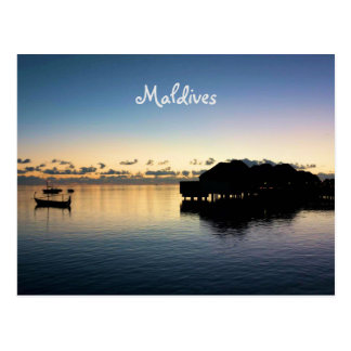 Romantic Sunset Maldives Beach Bungalows Postcard