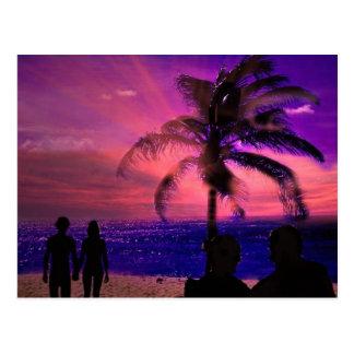 Romantic sunset on a beach, post card