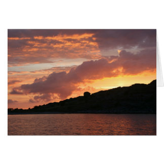 Romantic sunset over water card
