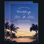 """Romantic Sunset Palm Beach String Lights Wedding Card<br><div class=""""desc"""">================= ABOUT THIS DESIGN ================= Romantic Sunset Palm Beach String Lights Wedding Invitation (1) For further customization, please click the &quot;Customize&quot; button and use our design tool to modify this template. (2) If you prefer thicker papers, you may consider to choose the Matte Paper Type. (3) If you need help...</div>"""