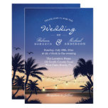 Romantic Sunset Palm Beach String Lights Wedding Card<br><div class='desc'>================= ABOUT THIS DESIGN ================= Romantic Sunset Palm Beach String Lights Wedding Invitation (1) For further customization, please click the &quot;Customize&quot; button and use our design tool to modify this template. (2) If you prefer thicker papers, you may consider to choose the Matte Paper Type. (3) If you need help...</div>