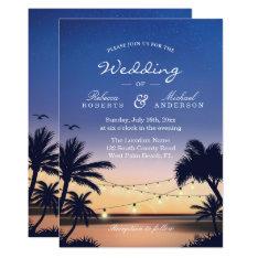Romantic Sunset Palm Beach String Lights Wedding Card at Zazzle