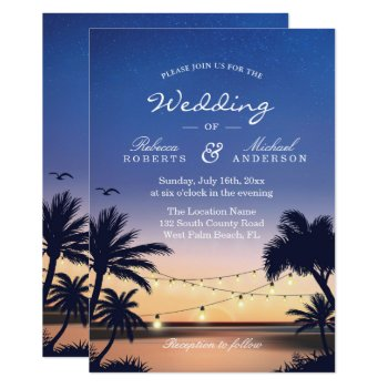 Romantic Sunset Palm Beach String Lights Wedding Card by CardHunter at Zazzle