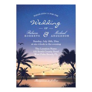 Romantic Sunset Palm Beach String Lights Wedding Invitation