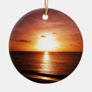 Romantic Sunset Picture Ceramic Ornament