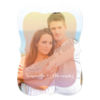 Romantic Sunset Shaped Photo Overlay Wedding 5x7 Paper Invitation Card