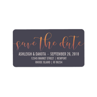 Romantic Sunset Silhouette Photo Save The Date Label