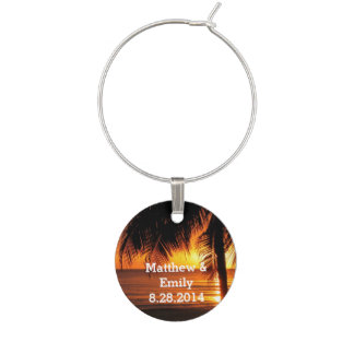 Romantic Sunset Wedding Wine Charm