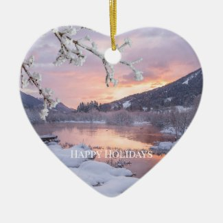 Romantic Sunset Winter Landscape Christmas Ceramic Ornament