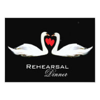 Romantic Swans Rehearsal Dinner Invitation