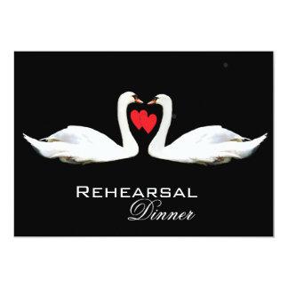 "Romantic Swans Rehearsal Dinner 5"" X 7"" Invitation Card"