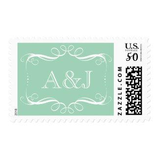 Romantic Swirl Monogram Wedding Stamp (Mint)