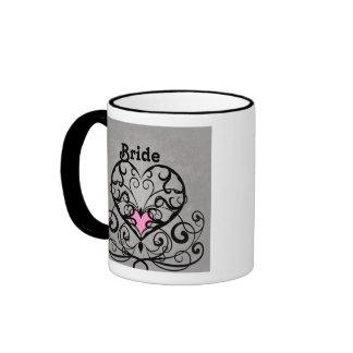 Romantic swirls and hearts wedding bride ringer coffee mug