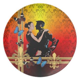 Romantic Tango ballroom dancers Plates