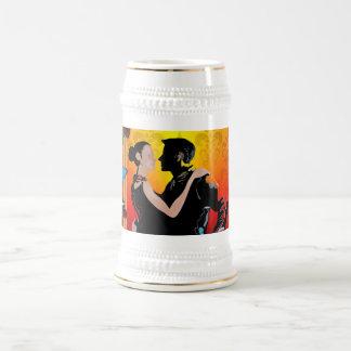 Romantic tango dancers on damask beer stein