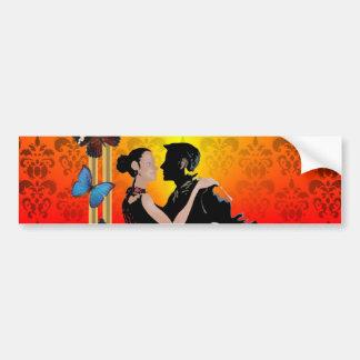 Romantic tango dancers on damask bumper sticker