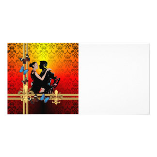 Romantic tango dancers on damask card