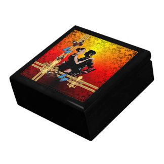 Romantic tango dancers on damask jewelry box
