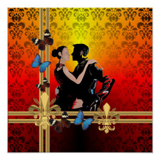 Romantic tango dancers on damask poster